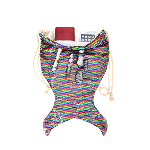 LIOOBO 1 stück Leuchtende Pailletten Meerjungfrau Muster Kordelzug Reiten Rucksack Geeignet für Erwachsene und Kinder Urlaub Schwimmen Strand Kleine Größe (Bunte)