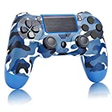 AUGEX Camo Blue PS4 Controller Compat. with Playstation 4, Camouflage Navy Blue New Remote with Two Motors to Control pa4, Light Blue Great Gamepad Gift for Kids/Man/Boys/Girls/Women(Camouflage Blue)