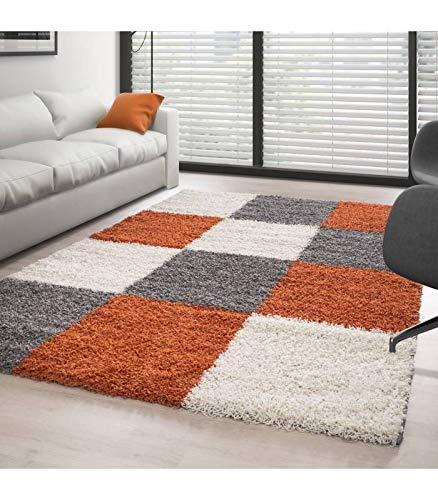 Carpettex Teppich Tapis Shaggy Pile Longue Designe à Carreaux Terracotta-Blanc-Gris - 120x170 cm