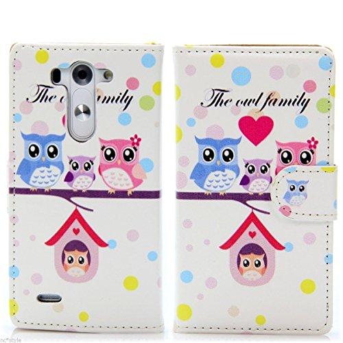 Handy Lux® Schutz Hülle Tasche Kartenfächer Flip Hülle Etui Cover Involto Motiv Design Hülle BookStyle LG G3 s/Mini Family Eule