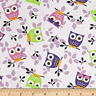 Richland Textiles Tossed Owls White/Purple/Lime Fabric By The Yard