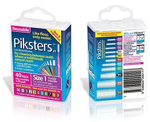 Piksters Interdentale Borstels (40 Pack, Maat 1 (Paars))