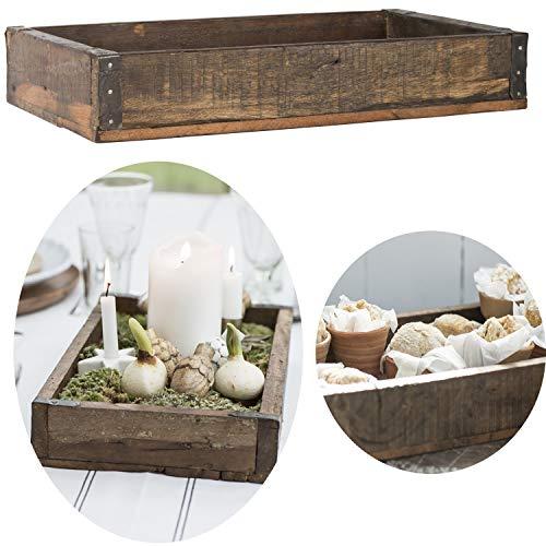 LS-LebenStil Holz Unika Aufbewahrung-Box 41x24x6cm Braun Servier-Tablett Ziegelform