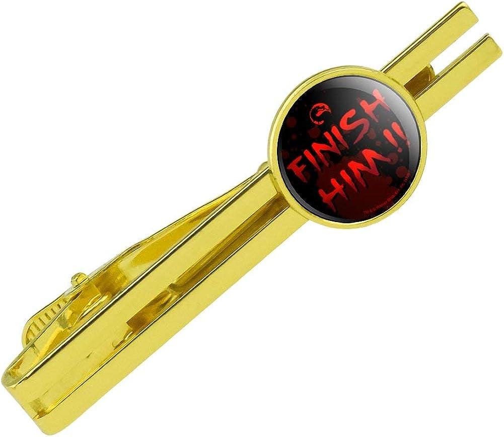 GRAPHICS & MORE Mortal Kombat Klassic Finish Him Round Tie Bar Clip Clasp Tack Gold Color Plated