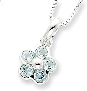 "Lex & Lu Sterling Silver Blue Topaz Flower Pendant w/16 Chain 16"""
