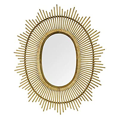 """Stratton Home Décor Stratton Home Decor 36"""" Kelly Bamboo Oval Wall Mirror, Light Brown"""