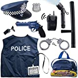 Police COSTUME with TOYS for ages 3 and UP for Dress up and role play that are great for HALLOWEEN,HOLIDAYS and EVERY DAY FUN Made DURABLE and Built to last can be for SWAT or POLICEMAN COSTUME and ACCESSORIES 12 piece set includes: Police HAT, Polic...