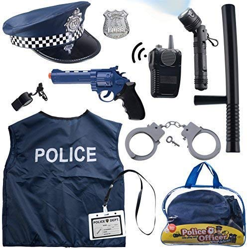 12 Pcs Police Costume for kids with Toy Role Play Kit with police badge, handcuffs,kids flashlight for Cop Costume, great for HALLOWEEN costume, FBI,Detective,Swat, and Kids Dress-up clothes