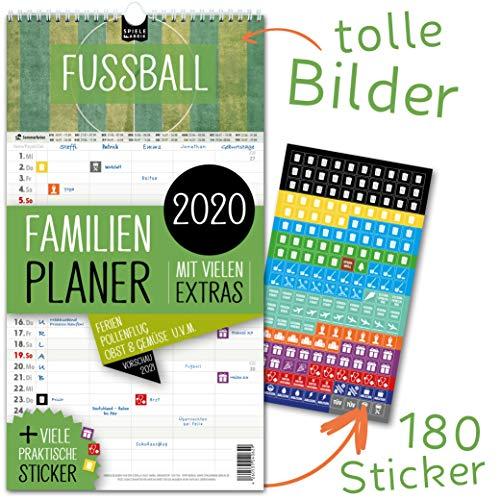 Familienplaner 2020 – FUSSBALL | 5 Spalten | Wandkalender: 23x43cm | Familienkalender Extras: 180 praktische Sticker, Ferien 2020/21, Pollen-, Obst- & Gemüse-, Jahreskalender, Vorschau bis März 2021