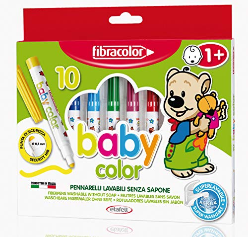 FIBRACOLOR Pennarelli Baby Color Fibracolor, confezione 10 colori, superlavabili solo con acqua