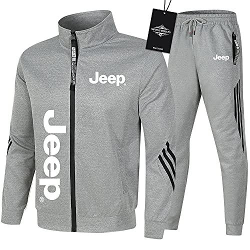 Ashleyy de Los Hombres Chandal Conjunto Trotar Traje jeep Hooded Zipper Chaqueta + Pantalones Sudadera Baloncesto Ropa de Los Hombres / gray/XXXL