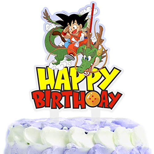 Dragon Cartoon Cake Topper Happy Birthday Fight Game Heroes Video Game Theme Decor for Baby Shower Birthday Party Decorations Supplies Acrylic