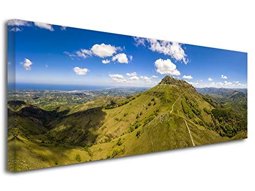Declina - Impresión sobre lienzo paisaje, cuadro decorativo para pared, fotografía sobre lienzo, cuadro fotográfico del País Vasco La Montagne del Rhune, 80 x 30 cm, Lona, 120x50 cm