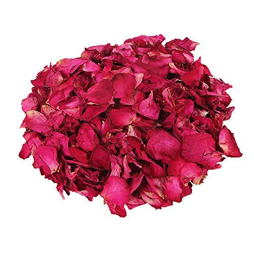 Gobesty Pétales de Rose séchées, 100 grammes de véritables pétales de Rose séchés naturels biodégradables Rouge Vraie Fleur pétale de Rose pour Bain de Pieds Corps Bain
