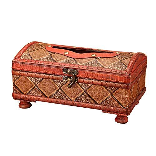 LIUJUAN Caja De Pañuelos Rubik Caja De Pañuelos De Madera Antigua Funda De Papel Funda De Servilleta Retro Decoración De Oficina En El Hogar-C (Cuadros)
