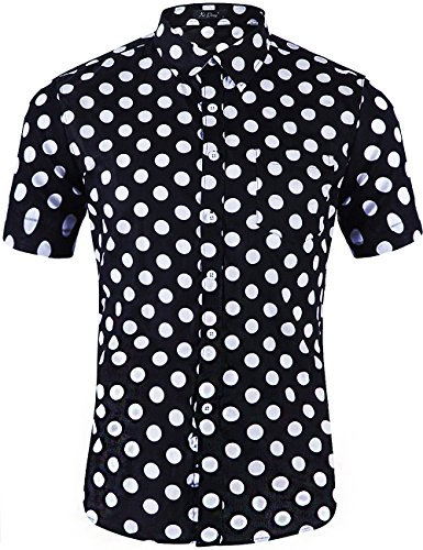 XI PENG Men's Tropical Short Sleeve Button Down Beach Aloha Hawaiian Shirt (Black White Big Polka Dot, X-Large)