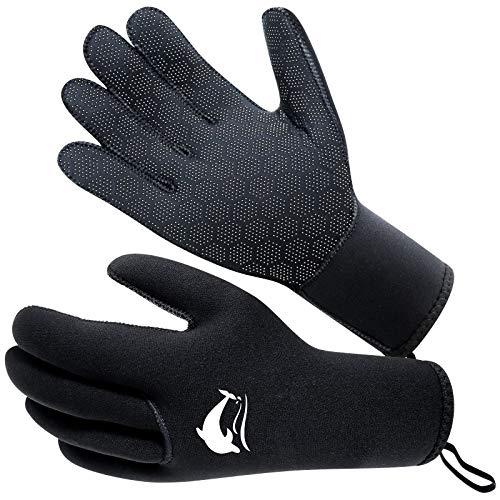 RTDEP - Guanti in neoprene da 3 mm, flessibili e antiscivolo per nuotare a cinque dita, guanti da immersione, guanti da surf per uomo e donna, per pesca subacquea e kayak, colore: nero
