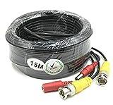 BW Cable de alimentación BNC de 15 m para cámara CCTV, sistema de seguridad DVR (15 m) – Tipo de cable: 0,2 mm², cable OD: 4 mm