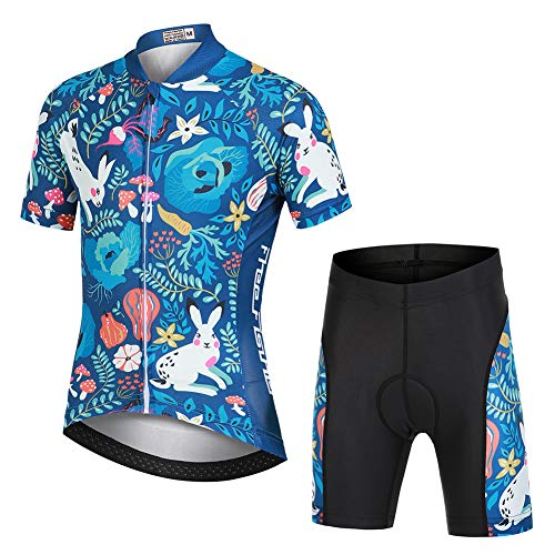 Cycling Clothing Kids,Short Sleeve Cartoon Road Mountain Bike Jersey Set/Top/Short for Girls Boys Breathable (Forest - Set, Small)