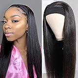Pelucas mujer pelo humano suavecito straight wigs pelucas cabello natural larga lisa headband human peluca negra niña hair wig for black woman con cintas pelo mujer 18inch(45cm)