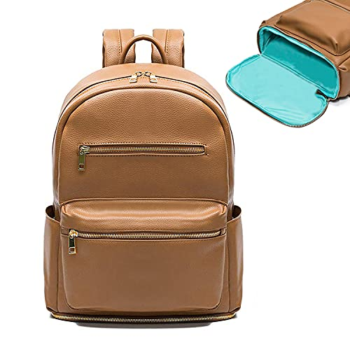 Diaper Bag Backpack Mominside, Leather Backpack for Women, Baby Bag Mommy Bag Fits 13 Inches Laptop, Baby Registry Search, Insulated Pockets and Bottom Compartment Brown