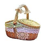 ODOORACT Cesta de pícnic ovalada de Wicker, cesta de pícnic, cesta de pícnic, mediana, vacía con forro interior, 25 x 18 x 26 cm, para pícnic o camping