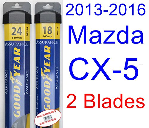 2013-2016 Mazda CX-5 Replacement Wiper Blade Set/Kit (Set of 2 Blades) (Goodyear Wiper Blades-Assurance) (2014,2015)