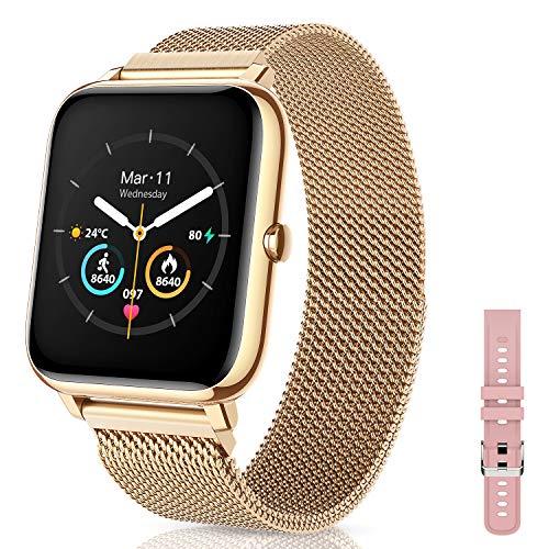 Canmixs Smartwatch Orologio Fitness Donna Uomo Impermeabile Bluetooth Smart Watch Cardiofrequenzimetro Da Polso Saturimetro Pressione Contapassi Calorie Acciaio Sportivo Activity Tracker Android ios