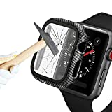 Konafei Carbon Fiber Texture Hard Case Compatible with Apple Watch Series SE/6/5/4, 40mm Case with Tempered Glass Screen Protector, Thin Cover Bumper Full Protective for iwatch