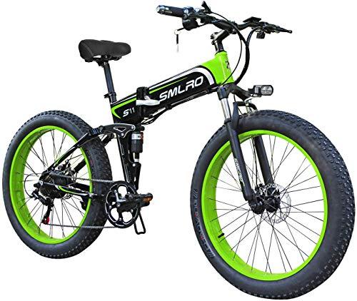 XXCY Bicicleta De Montaña Eléctrica, Bicicleta Eléctrica Plegable De 26 Pulgadas con Rueda De Radios De Aleación De Magnesio Ultraligera, Engranaje Shimano De 21 Velocidades, Suspensión Completa