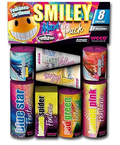 Weco Smiley Maxi Pack 8-teiliges Fontänen-Sortiment Jugendfeuerwerk der neuen Generation