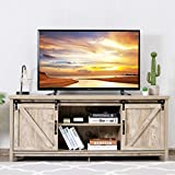"Tangkula Wood TV Stand for 65"" Television, TV Ark with Sliding Barn Doors, Wooden TV Cabinet with 2 Center Compartments and 2 Cabinets, Barn Door TV Stand, Natural Design (White Oak)"