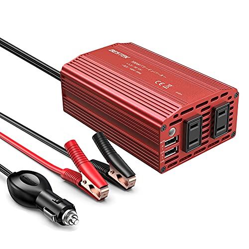 BESTEK カーインバーター 300W 車載充電器 六つ保護機能 ACコンセント2口 USB2ポート DC12VをAC100Vに変換 ...