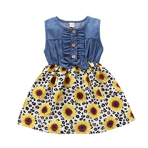 WOYAOFEI Jeanskleid für Mädchen Plissee Rock mit Pflanzendruck Bogen Kinder ärmellose Bowknot Denim Nähte Sonnenblume Muster Rock Kleid