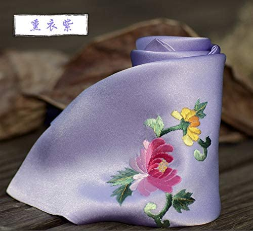 Z.L.FFLZ Embroidery Handkerchief Pocket Handkerchief Women's Scarves Floral Silk Handmade Embroidery Suzhou Embroidery Gifts (Color : Purple, Size : S)
