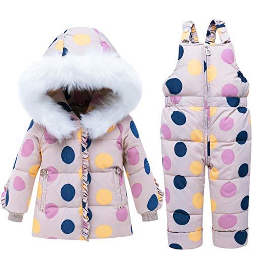 Vine Bambino Tuta da Sci Piumino con Cappuccio + Pantaloni da Sci Bambini 2 Pezzi Tuta da Neve Invernale Completo Salopette da Sci Caldo Giacca Cappotto Snowsuit, 3-4 Anni