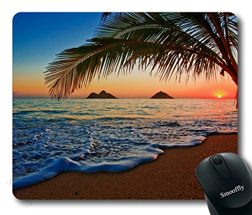 Hawaiian Mouse Pad by Smooffly, Pacific Sunrise at Lanikai Beach, Hawaii Colorful Sky Wavy Ocean Surface Scene,Customized Rectangle Non-Slip Rubber Mousepad Gaming Mouse Pad, 9.5 X 7.9 Inches