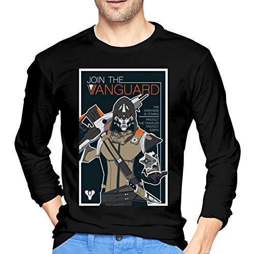 De-STI_NY 2 Ca-Yde-6 Camiseta de algodón para Hombre Camiseta Ajustada con Cuello Redondo y Manga Larga Pequeño Negro