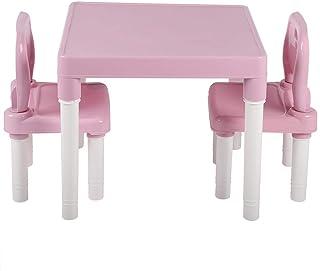 lyrlody 3 Piezas Juego de Sillas y Mesa Infantiles Plástico No Tóxico Duradero(Rosado)
