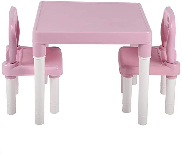 Wocume Childrens Kids Table Chair Set Childrens Plastic Table Chair Set Learning Studying Desk Activity Table Desk Sets For Home Kindergarten Bedroom And Playroom Pink