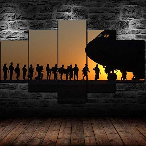 37Tdfc Cuadro Modernos en Lienzo 5 Piezas Pintura Pared Tejido Impresión Artística Abstracto Mural Ejército Soldado U.S Fuerza Aérea Guerra AC 130 Enmarcado para Salón O Dormitorio Imagen Decoración