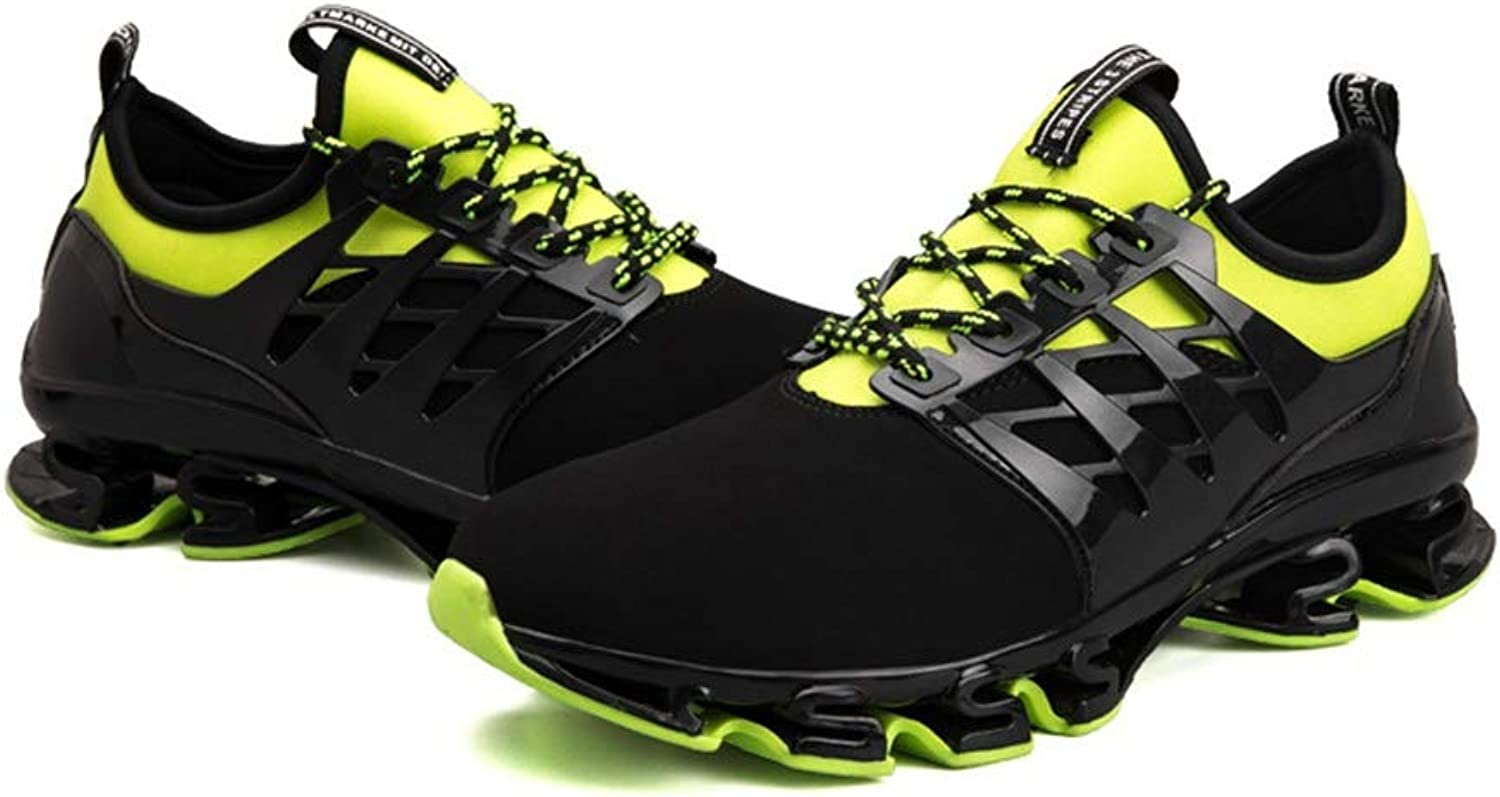 Wild Large Size Men's shoes Casual shoes Men's Sports shoes Running shoes Cricket shoes (color   Green black, Size   40)