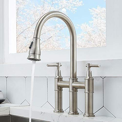 Shaco Modern Commercial Two Handle Solid Brass Pull Down Brushed Nickel Bridge Kitchen Faucet 3 Hole