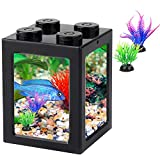 Small Fish Tank, Mini Betta Fish Tank Stackable Cube Tank with Fish Tank Decor, Ant Feeding Case Mini Reptile Row Box (Black)