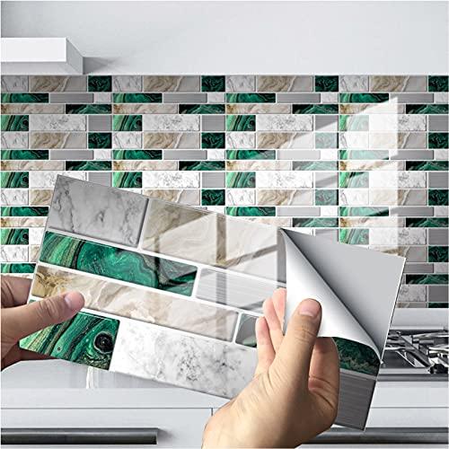 WSLIANG Art 3D 12/24/48 Hojas adherir en Azulejos para Salpicaduras de Cocina Espesar 10x20cm a Prueba de Agua pelar y Pegar Azulejos de Pared 3D para baño autoadh(Size:12 Pieces,Color:A)