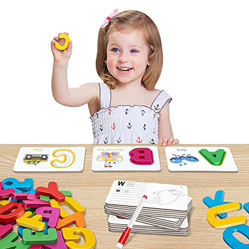 HahaGift Alphabets Flash Cards Set - ABC Wooden Letters and Numbers Animal Card Board Matching Puzzle Game Montessori Educational Toys Gift for Kids Age 3 4 5 Preschool and Up Years