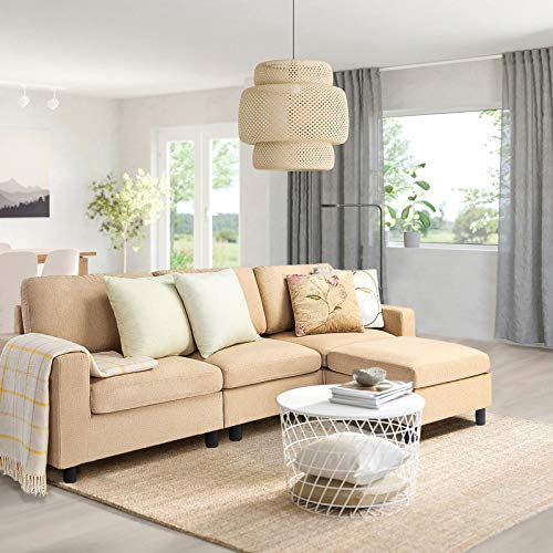 Pukami Convertible Sectional Tiny Sofa Couch for Living Room, Reversible Chaise with Modern Linen Fabric, L-Shaped 3-seat Sofa Couch with Ottoman for Small Space, Apartment,Dorm,Juvenile (Beige)