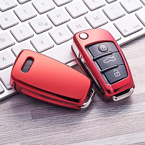KJKJ Beschermhoes van TPU voor autosleutels, automatisch, voor Audi C6 A7 A8 R8 A1 A3 A4 A5 Q7 A6 C5, autohouder Rood