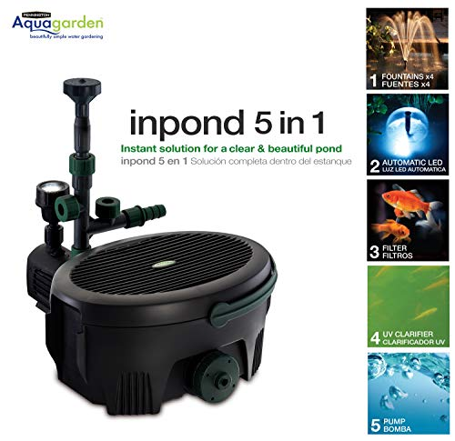 Aquagarden Pennington, Inpond 5 in 1, Pond & Water Pump, Filter, UV Clarifier, LED Spotlight and Fountain, All in One Solution for a Clean, Clear and Beautiful Pond, for Ponds up to 600 Gallons