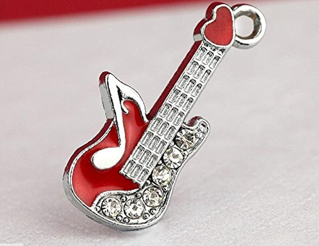 M195-E Wholesale 10pcs Cute Little Red Musical Guitar DIY Charms Pendants